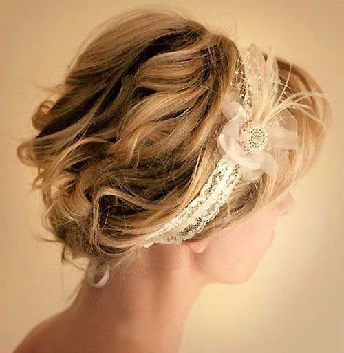 Head Piece Bridal Hairstyles for Short Hair Updos-7
