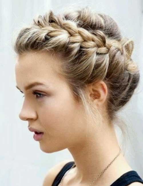 Cute Braided Updo Hairstyles for Short Hair-12
