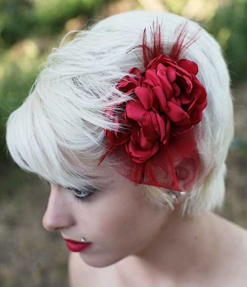 Wedding Floral Hairstyles for Short Hair Updos-12