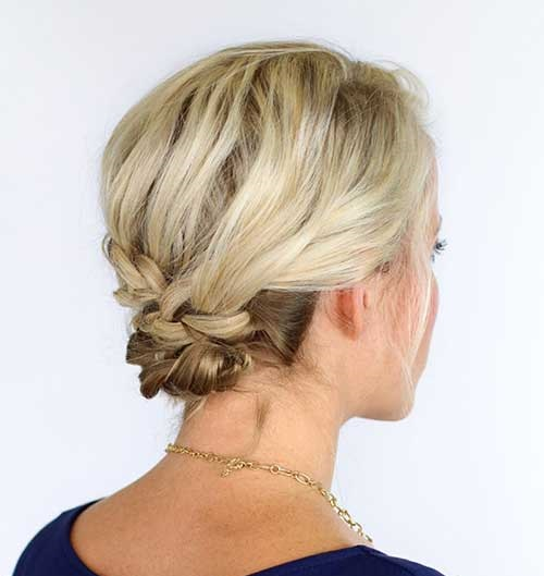 Low Bun Updo Hairstyles for Short Hair-14