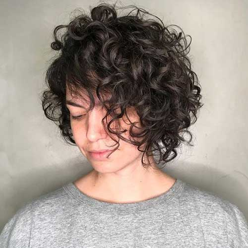 Short Dark Brown Curly Hairstyles for Women-14