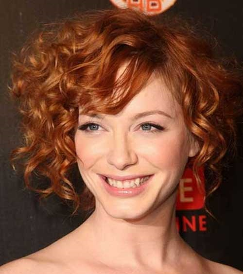 Short Curly Side Bangs Hairstyles for Women-15