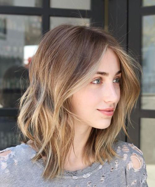 Medium Short Hair Blonde Highlights with Side Bangs-17