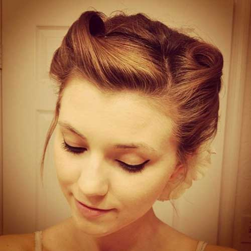 Victory Rolls Updo Hairstyles for Short Hair-20