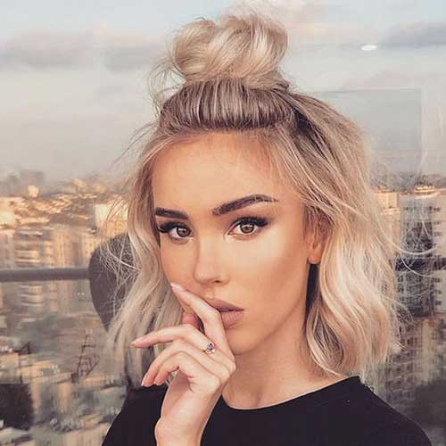 Easy Cute High Half Bun Updos for Short Hair-7
