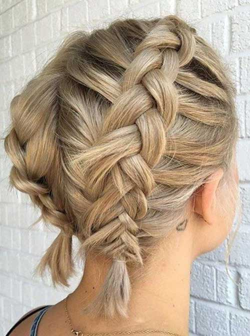 Easy Two Braids Updos for Short Hair-8