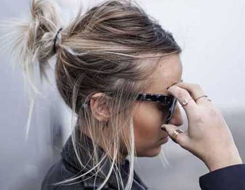 Easy Messy Bun Style for Short Hair-9