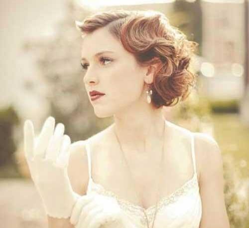 Wedding Vintage Bride Hairstyles for Short Hair Updos-9
