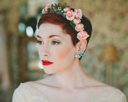Short Hair Bridal Styles Floral Crown