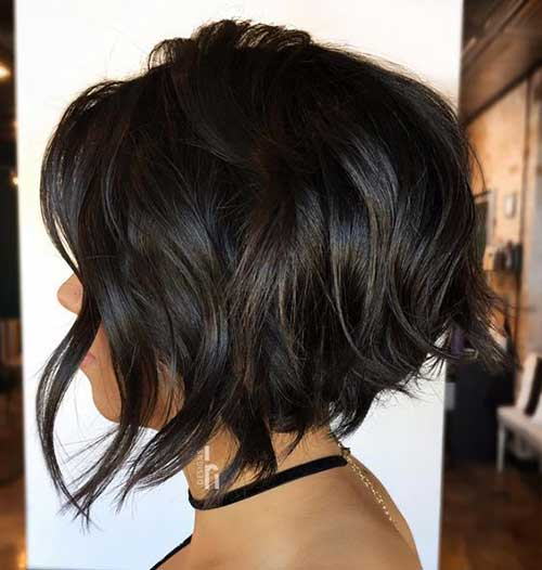 Wavy Dark Brown Hair Textured Choppy Bob-14