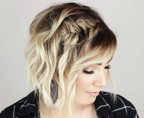 Side Braided Cute Updos for Short Hair-16