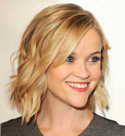 Medium Short Haircuts Side Bangs for Women-7