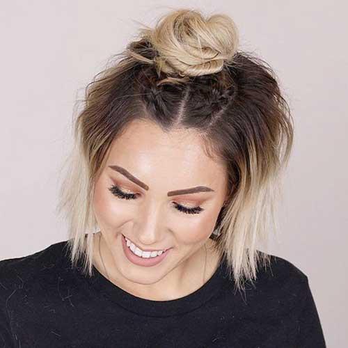 Messy Half Bun Cute Updos for Short Hair-9