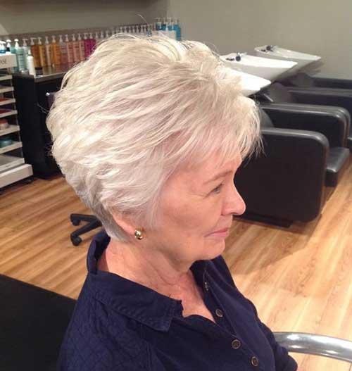 Short Layered White Hair-11