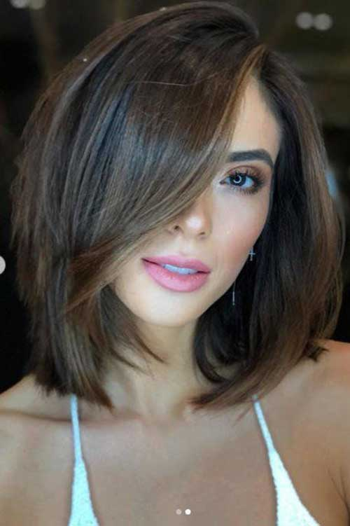 Shoulder Length Short Layered Brown Hair-13