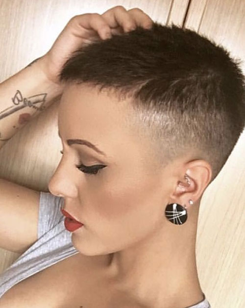 Short Brown Shaved Hair-16