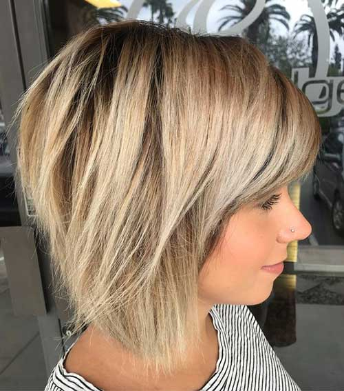 Shoulder Length Short Layered Hair with Bangs-6