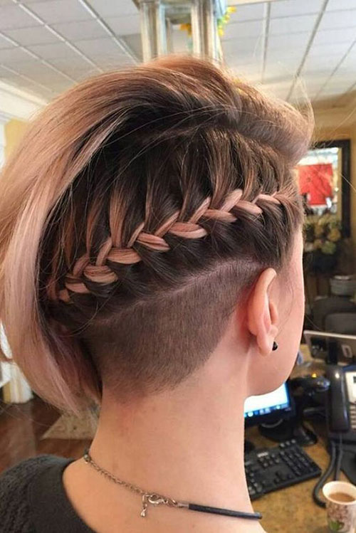 Side Braid Party Hairstyles for Short Hair-10