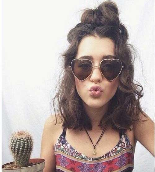 School Curly Hairstyles for Short Hair-8