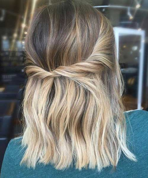 Simple Half Up Party Hairstyles for Short Hair-8
