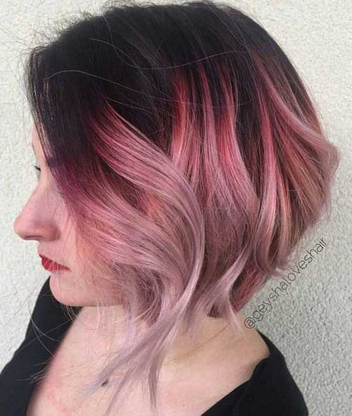 Pink Ombre Short Hair Color Ideas-11