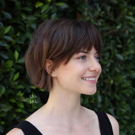 Cute Bangs Bob Hairstyles for Fine Hair-11