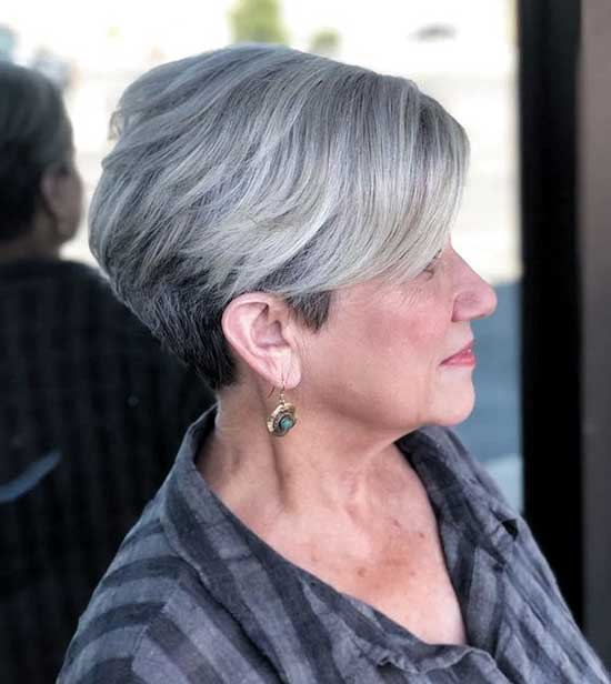 Graduated Short Haircuts for Women Over 60-11