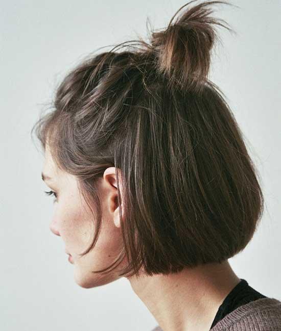 Messy Top Bun for Short Hair-13