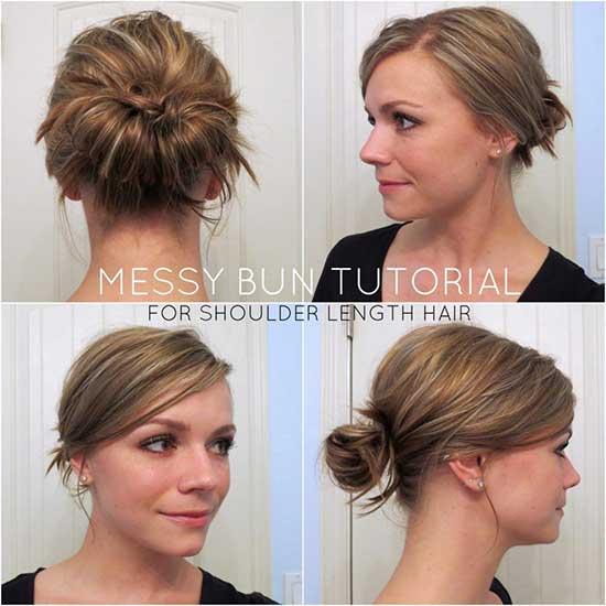 Side Bangs Messy Bun for Short Hair-14