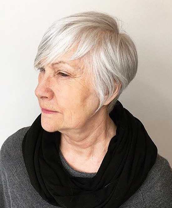 Short Haircuts Long Bangs for Women Over 60-16