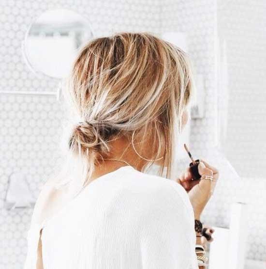 Low Messy Bun for Short Hair-8