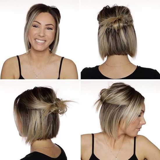 Messy Half Bun for Bob Hair-9