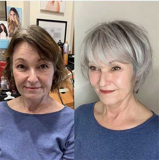 Short Wedge Haircut Styles for Women Over 50-12