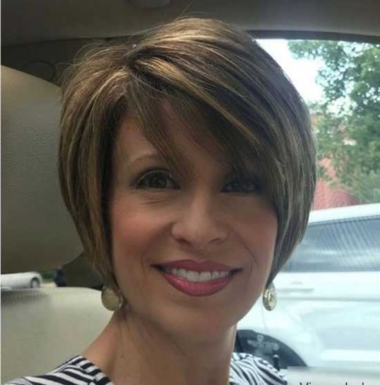 Side Bangs Short Haircut Styles for Women Over 50-15