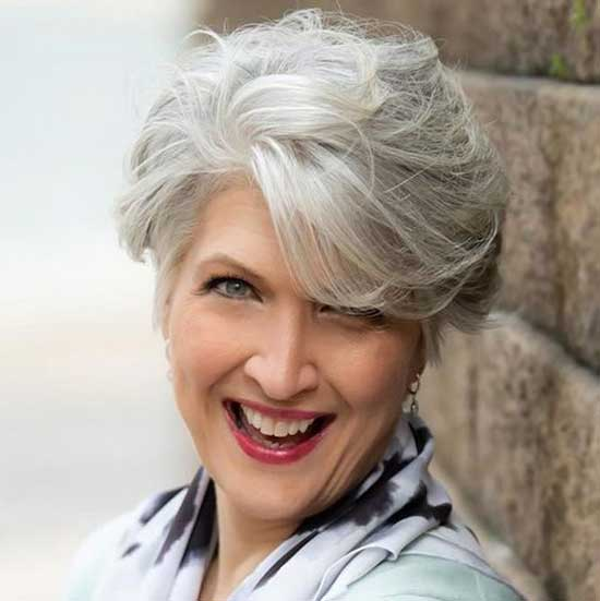 Short White Haircut Styles for Women Over 50-17
