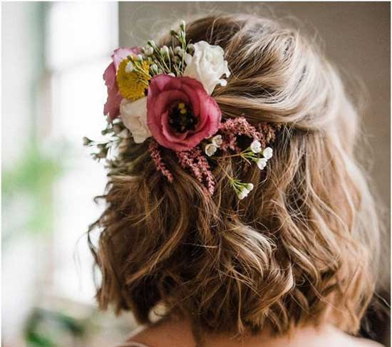 Half Up Bridal Hairstyles for Short Hair-12