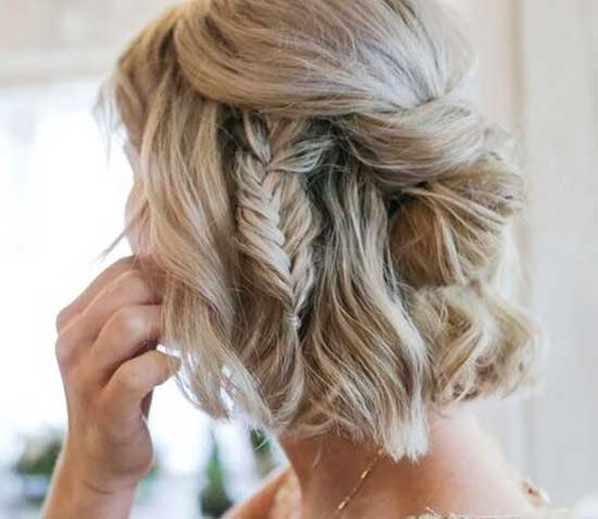 Fishtail Braids Bridal Hairstyles for Short Hair-18