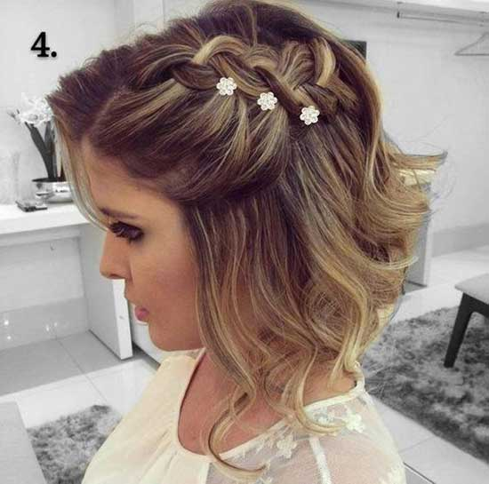 Big Side Braid Bridal Hairstyles for Short Hair-19