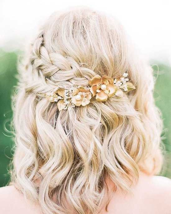 Side Braids Bridal Hairstyles for Short Hair-6