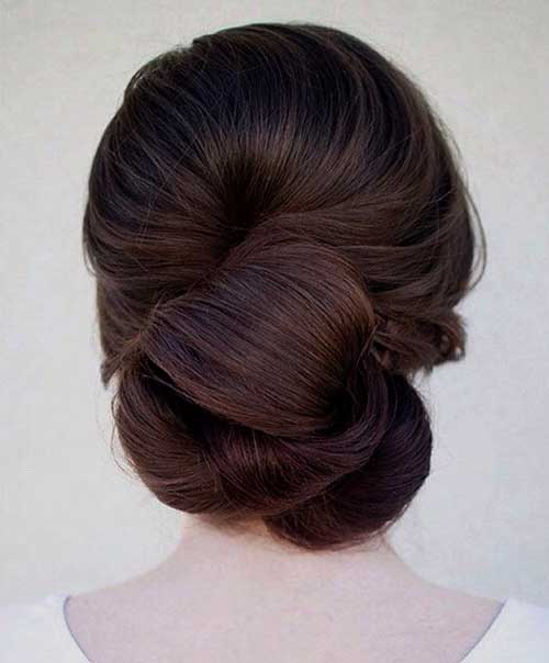 Dark Brown Bun Hairstyles-14
