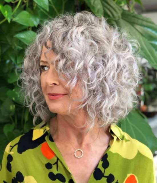 Grey Bob Hairstyles for Curly Hair-16